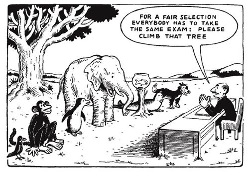"Comic illustration that shows show how not all animals can climb a tree equally: ""For a fair selection everybody has to take the same exam: please climb that tree."""