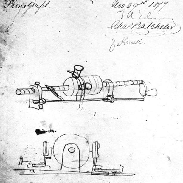 Edison phonograph sketch November 29 1877-thumb-615x615-103171