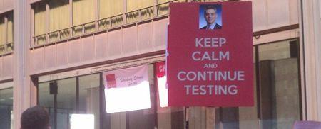 Keep calm continue testing with rahm headshot via wbez 2012