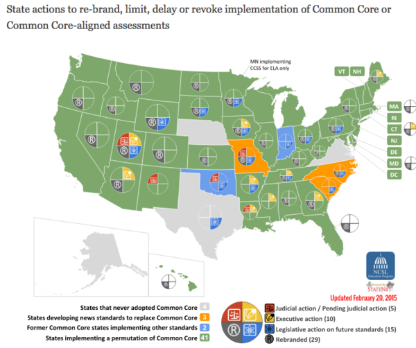 Common Core Status Map   College and Career State Standards  State Legislation Update
